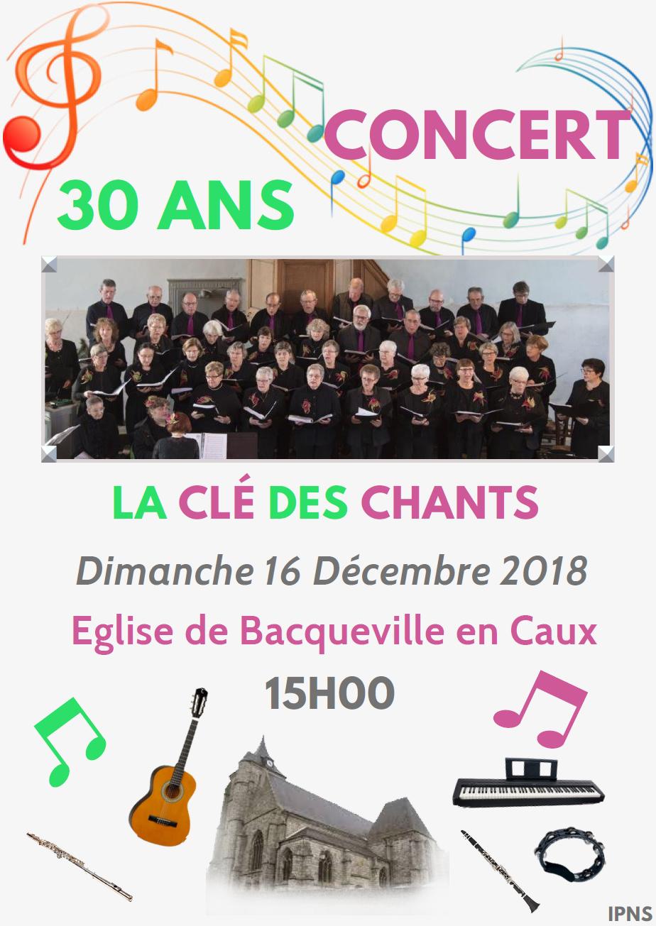 CONCERT DE LA CHORALE LA CLE DES CHANTS @ Eglise de Bacqueville