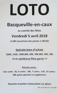 LOTO DU COMITE DES FETES @ Salle des fêtes de Bacqueville