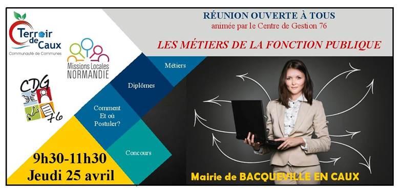 REUNION D'INFORMATION SUR LES METIERS DE LA FONCTION PUBLIQUE @ Salle des fêtes de Bacqueville