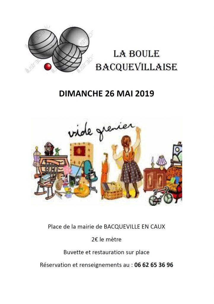 VIDE GRENIER DE LA BOULE BACQUEVILLAISE @ Place du Général de Gaulle